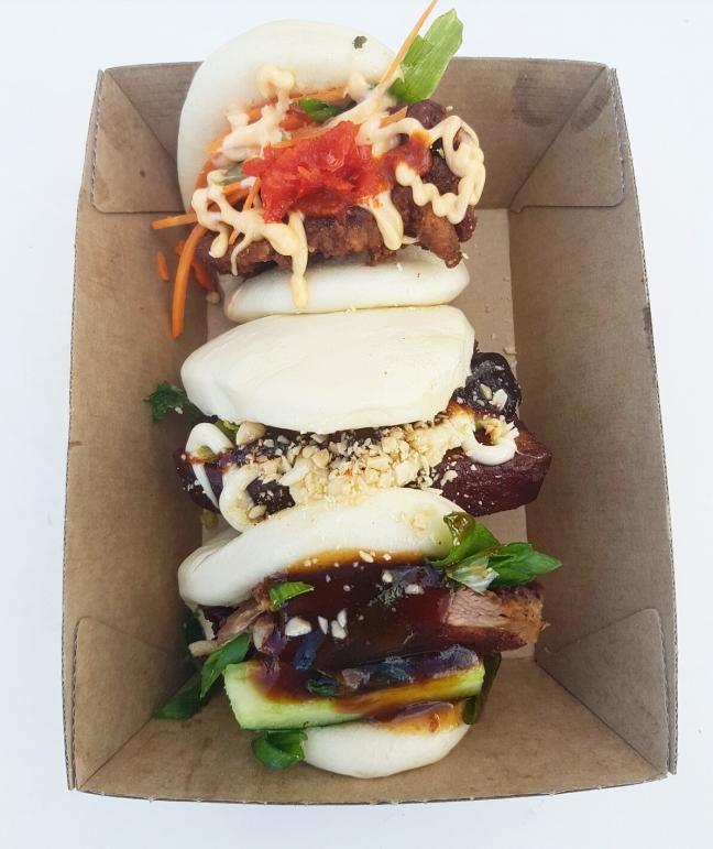 Bao trifecta: braised pork belly, fried chicken & peking duck bao